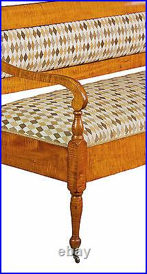 SWC-Vibrant Country/Federal Tiger Maple Settee, New England, c. 1810-20