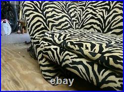 Sale! Art Deco Zebra upholstered Sofa mid Century Designer