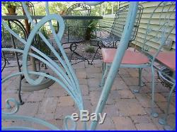 Salterini patio sunroom Table and 4 Dogwood pattern Chairs wrought iron set
