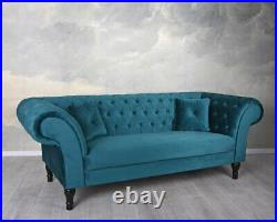 Samt Sofa Chesterfield Couch Glamour Sitzmöbel Kanapee Smaragd Polstersofa Retro