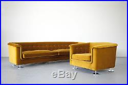 Seating Group by Hans Kaufeld, Sofa and Lounge Chair in Velvet Sitzgruppe 70er