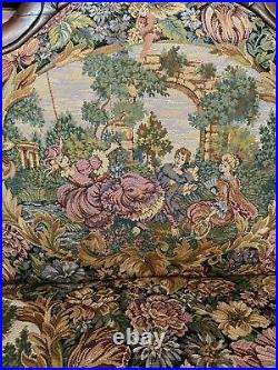 Serpentine Rare Antique Victorian Sofa Hand Carved Walnut FrenchTapestry Covered