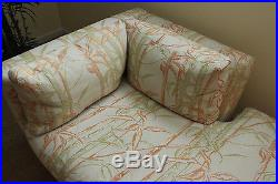 Set ofVintage Henredon Custom Upholstered Chaise Lounge and Couch Sofa Tropical