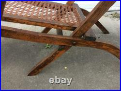 Set of antique folding wood cane reclining deck steamer chairs