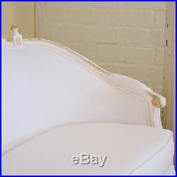 Shabby Cottage Chic Vintage Italian White & Gold Settee Sofa Couch Handcarved
