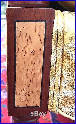 Sheraton Styled Mahogany Inlaid Paneled Settee In Gold Silk Fabric