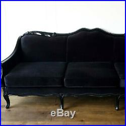 Sleek French Provincial Glam Black Velvet Sofa Couch Chaise Hollywood Vintage