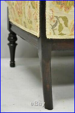 Small Antique French Louis XVI Carved Mahogany Victorian Loveseat Settee Sofa