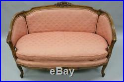 Small French Country Louis XV Style Carved Walnut Pink Settee Loveseat Sofa