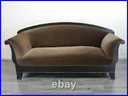 Sofa Couch alt Biedermeier Buche brauner Textilbezug B 221 cm (9510)
