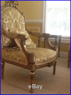 Sofa, chair and table French chateau style With marble top tables