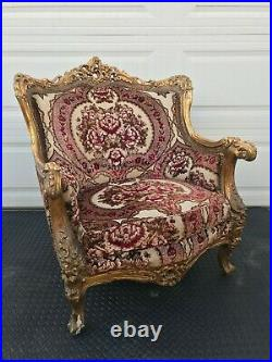 Sofa set, Louis XV (15th), carved & gilded with colorful upholstery