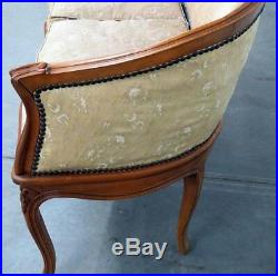 Sophisticated & Simple French Carved Walnut Louis XVI Settee Sofa Window bench