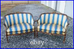 Stanford Furn. French Provincial Louis XVI Settee Carved Giltwood WithDuck Down