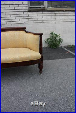 Stunning 19th C. American Empire Mahogany Love Seat, Settee, On Casters