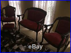 Stunning 3 Piece Red Antique Furniture Set 1800s With Lion Face Handles