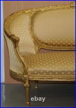 Stunning French Giltwood Napoleon III Circa 1870 Salon Sofa Settee Part Of Suite