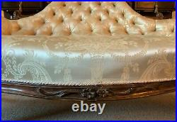 Stunning Quality Original 19thc Carved Rosewood Cream Upholstered Sofa Settee