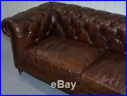 Stunning Rrp £4425 Timothy Oulton Westminster Brown Leather Chesterfield Sofa