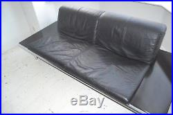 Stunning Vintage Leather & Metal Harvink Mission Sofa Settee