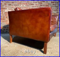 Stylish Vintage Danish 1970 Conker Brown Two seater Mogensen Style Leather Sofa