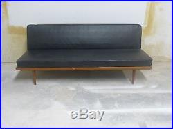Super 1950's MID Century Modern Danish Peter Hvidt Daybed Sofa W Black Leather
