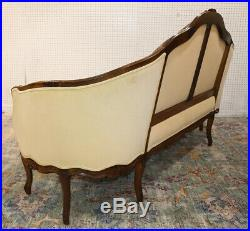 Superb Curved Carved Walnut French Louis XV Sofa Couch Sette Tapestry C1920s