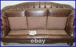 Thomas Lloyd Chesterfield Three Seater Brown Sofa On Sweeping Arms