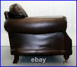 Thomas Lloyd Consort Two Seater Brown Leather Sofa On Brass Castors