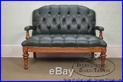 Tufted Green Leather Regency Style Settee Loveseat