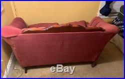 Tufted Velvet Sofa Loveseat Settee Red Burgundy Victorian Vintage 54.5 wide