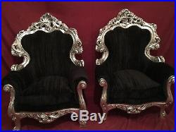 Two Baroque Chairs In Black Velvet With Silver Frame Sofa Also Available