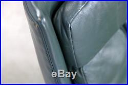 Two Danish Lounge Chairs attr. Hans Olsen, with Dark-Green Original Leather