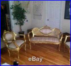 UNIQUE ANTIQUE COMPLETE FRENCH ROCOCO PARLOR, sofa plus two armchairs