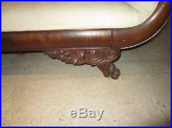 Unique Antique American Empire upholstered mahogany sofa circa 1820, claw feet