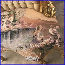 Unique Rare Small Sofa With Gobelin In French Louis XVI