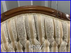 VICTORIAN EASTLAKE WALNUT CARVED UPHOLSTERED SETTEE / LOVESEAT Circa 1860