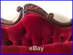 VICTORIAN RED VELVET SOFA with Carved POMEGRANATES Antique Couch Wood Carvings