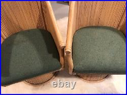 VINTAGE AUTHENTIC McGUIRE SAN FRANCISCO RATTAN / BAMBOO SWIVEL CHAIRS HEAVY