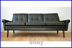 VINTAGE DANISH MID CENTURY SVEND SKIPPER BLACK LEATHER 3 PERSON SOFA 1960, s