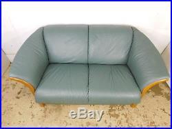 VTG Ekornes Stressless Teak Leather Teal Lounge Loveseat Sofa Manhattan Model