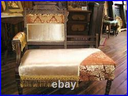 Victorian Aesthetic Movement Settee, Bustle Chair. New upholstery withfringe