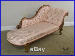 Victorian Antique Walnut Tufted Chaise Lounge