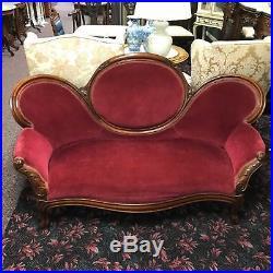 Victorian Carved Walnut Love Seat Settee in Velvet
