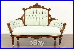 Victorian Eastlake Walnut Antique Carved 1880 Loveseat or Settee