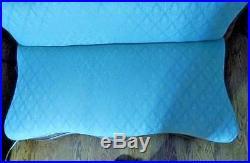 Victorian Empire Slipper Sofa Burl Veneer Pale Green Brocade 28 3/4H x 43 1/2 W