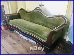 Victorian Empire velvet sofa-large, green velvet, dark wood, elegant