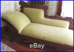 Victorian Fainting Sofa Couch ca. 1880 Eastlake Carved Ebonized Velvet