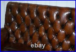 Victorian Georgian Irish Brown Leather Chesterfield Sofa Lion Hairy Paw Feet