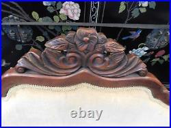 Victorian Mahogany Carved Slipper Sofa Gold Velvet Upholstery 35 1/2 H x 46 W